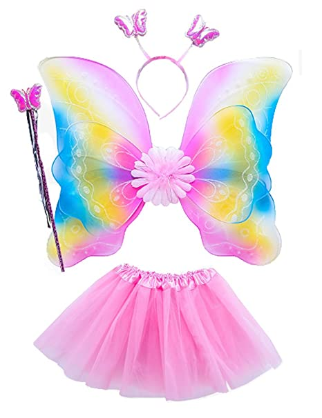 9eb89e1477959 Amazon.com: Lujuny Kid Fairy Wing Costume Set - Butterfly Wings Tutu Dress  Magic Wand and Headband (RAINBOW PINK): Clothing