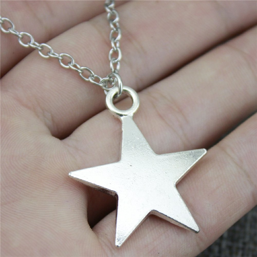 NEWME Star Charms Pendant Metal Chain Necklace For Mommy Handmade Jewelry Kraftpaper Box Gifts