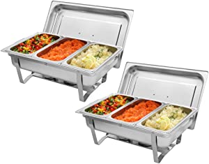 EFIL 2 Packs Stainless Steel Chafing Dishes-Buffet Set 8 Quart Full Size Chafer and Buffet Warmer Sets with Water Pan, Food Pan, Lid (2, 2 Full size 1/3rd)
