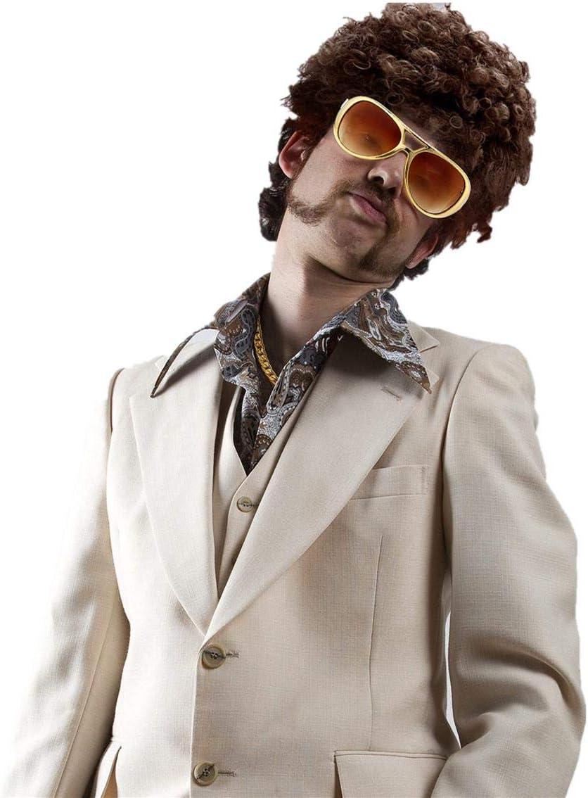 Yuejiancaos 70s Disfraces Para Hombre Accesorios Hippies Afro Wig ...