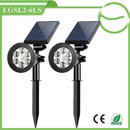 GXZOCK Focos solares al aire libre, sensor de movimiento, energía solar, 6 luces