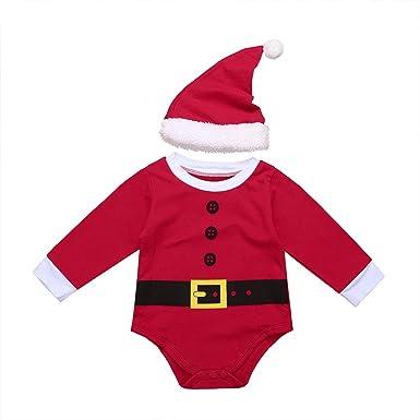 17373c851d658 TiaoBug Bébé Fille Garçon Barboteuse de Père Noël Déguisement Body  Combinaison à Manche Longue Coton Grenouillère
