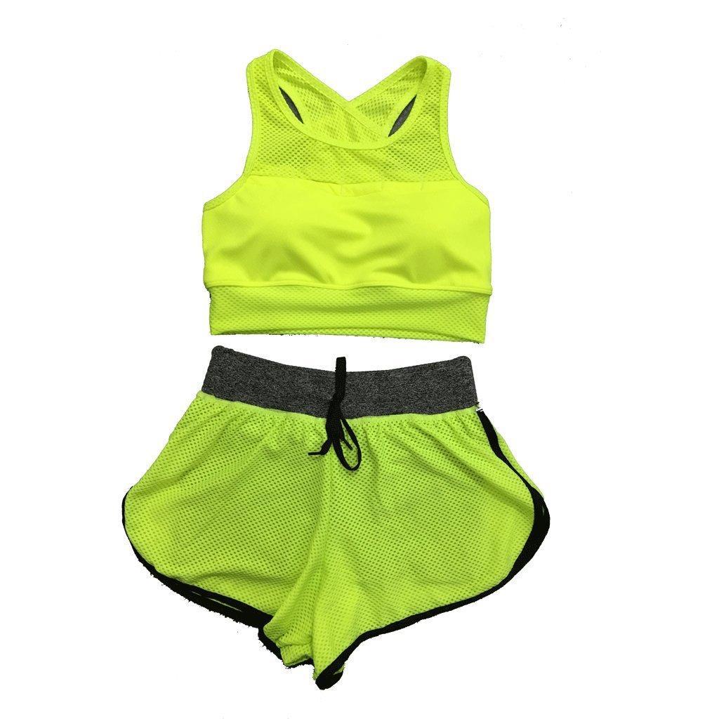RXL-Fitnessbekleidung Sommer Workout Kleidung ärmellos Schnell trocknend Atmungsaktive Yoga Kleidung Laufbekleidung Outdoor-Sport dreiteilig (Farbe : B, größe : L)