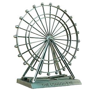 KISEER Alloy Metal Rotatable London Eye Ferris Wheel Statue Decor Figurine for Office, Centerpiece, Kids Toy, Bronze