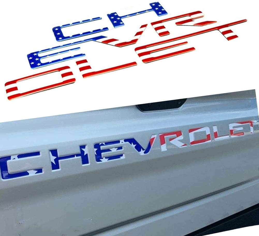Tailgate Insert Letters 3M Adhesive For 2019 Chevrolet Silverado Emblem Black 3M Adhesive /& 3D Raised Strong Tailgate Letters