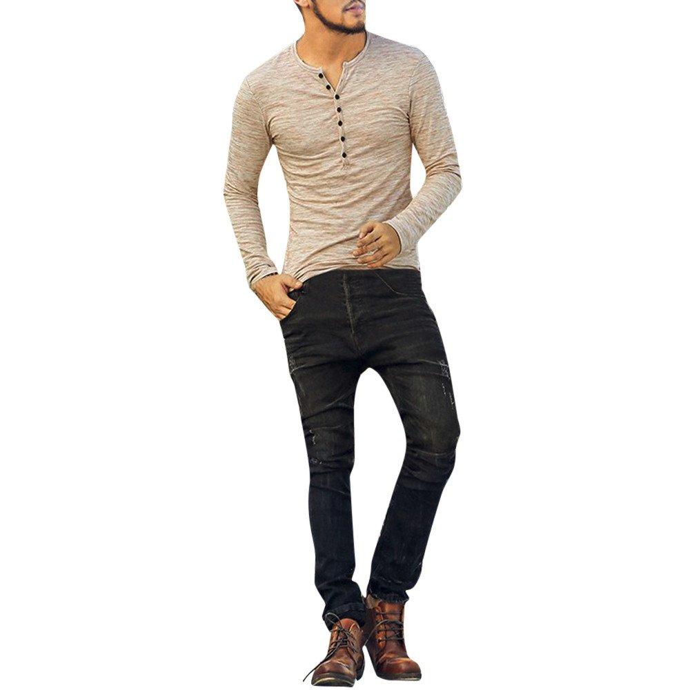 Colmkley Men/'s Casual Slim Fit Basic Henley Fashion T-Shirt Long Sleeve V-Neck