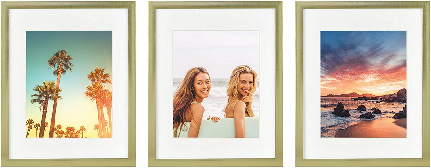 Sheffield Home Decor Collection- 3 Piece Picture Frame Set, Gallery Set, 11x14in, Matted to 8x10in (Gold)