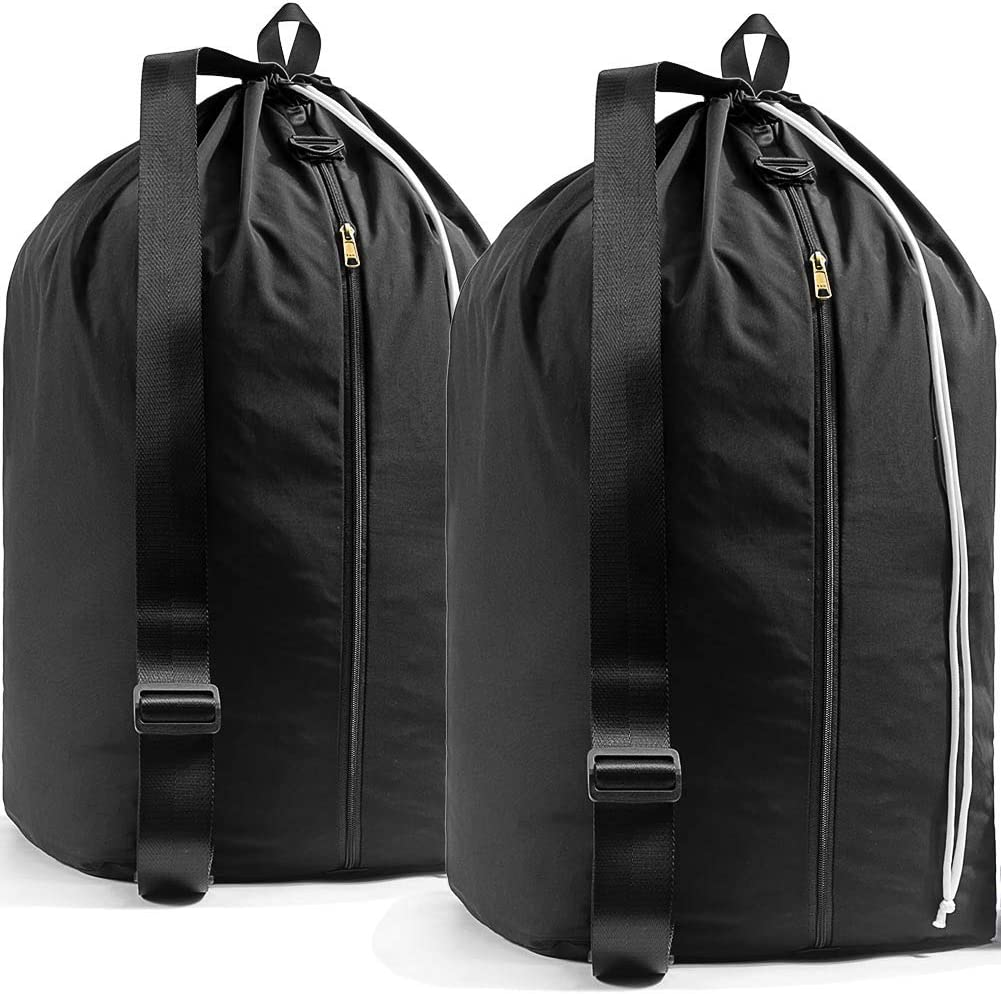 "TENRAI Extra Large 15""x15""x27"" Backpack Laundry Bag with YKK Zipper, Dirty Clothes Travel Organizer, Tear Resistant Locking Drawstring Closure Bags Fit Laundry Baskets or Hamper. 2 Pack"