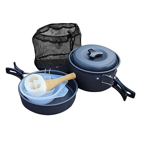 Kit de cubiertos Camping aluminio 8 pcs, cacerolas y sartenes antiadherente/utensilios de cocina