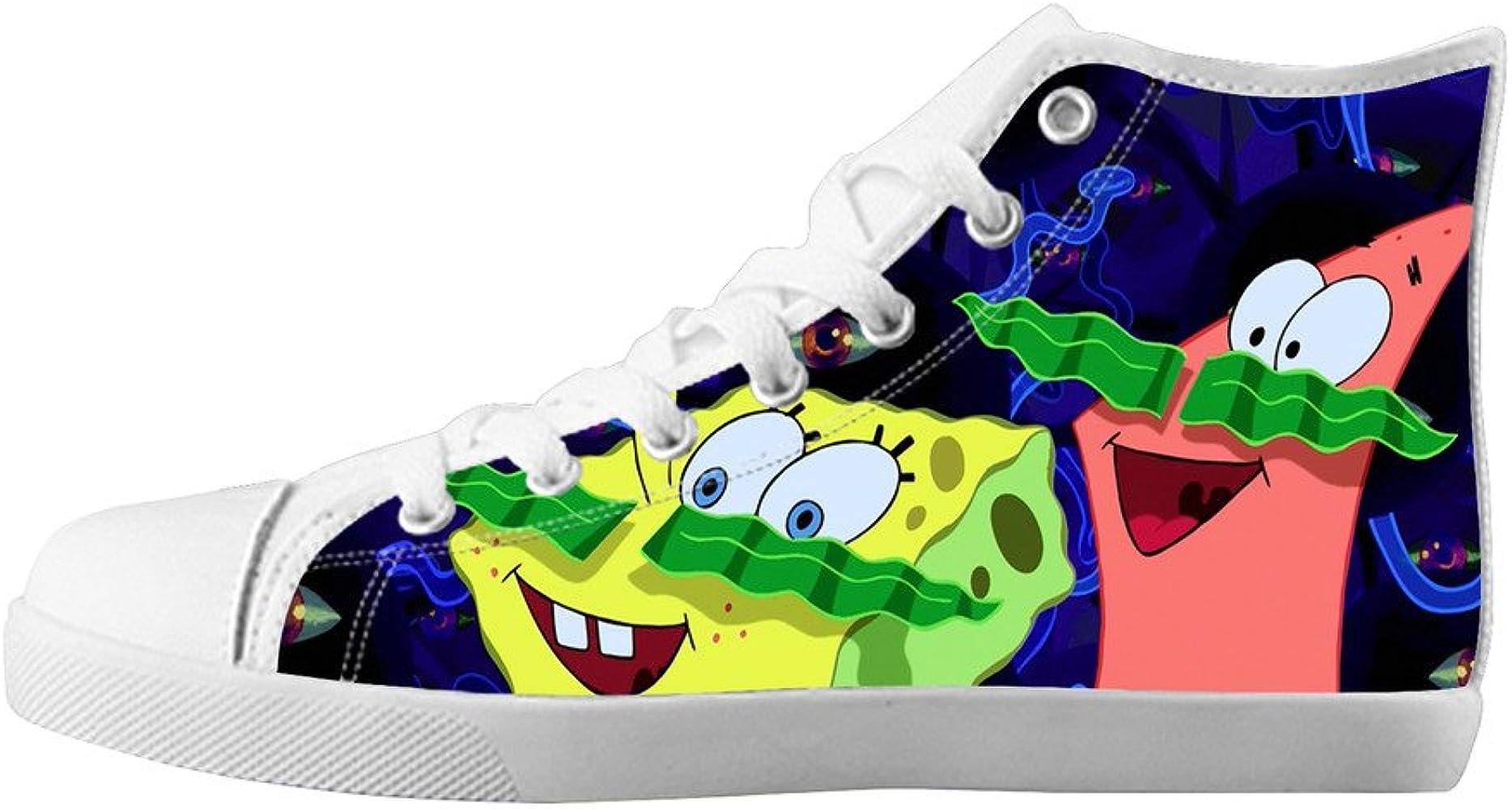 Amazon.com: Summer High Top Lace Up Canvas SpongeBob ...