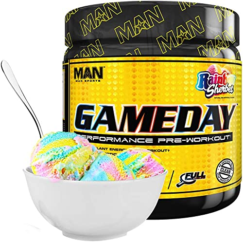 Man Sports Game Day. Rainbow Sherbet Flavored Pre Workout Energy Drink Mix with Natural Caffeine. 30 Servings