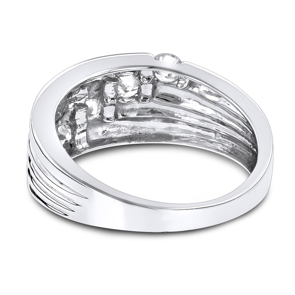 Luxurman Womens 14K Round Natural 0.3 Ctw Diamond Journey Ring For Her (White Gold Size 7.5) by Luxurman (Image #2)