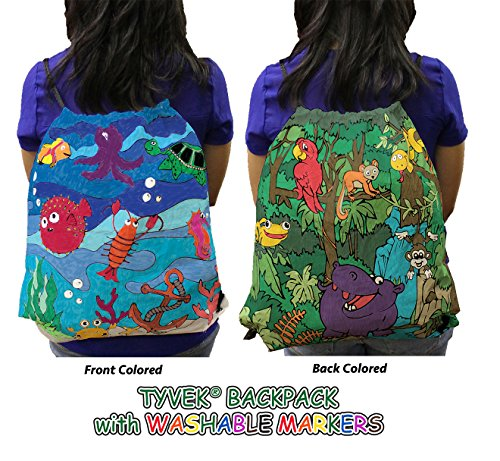 Earthwise Kids Drawstring Backpack Tote Bag Tyvek COLOR IN - WASH & COLOR AGAIN Crayola Washable Marker Set UNIQUE PARTY FAVOR