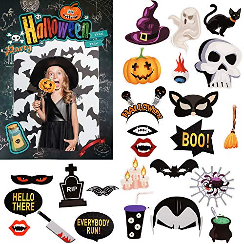 Halloween Frames For Photos (Halloween Photo Booth Props, 23 Pieces Selfie Props Funny Prop Signs with Picture Frame for Halloween Party Supplies, Assorted Designs, DIY Assembly)