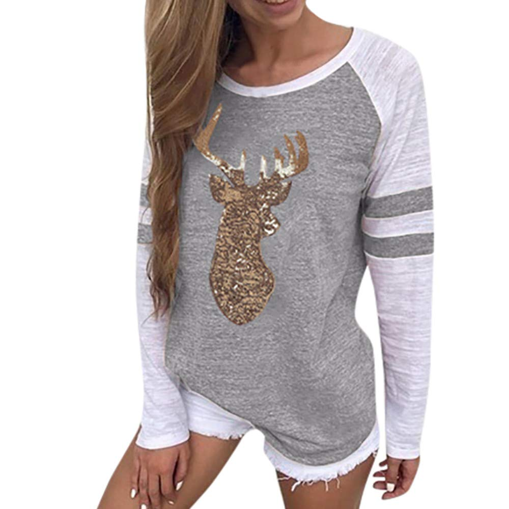 Women's Christmas Party Reindeer Sequin Print Stripe Elk Xmas T-Shirt Holiday Celebration Long Sleeves Top FORESTIME 18-24M/120