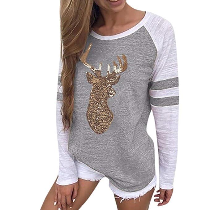 newest 56caf e9076 OverDose Damen Tuniken Pullover Festival Weihnachten Frauen Rentier Blusen  T-Shirt Xmas Party Clubbing Schlank Langarmshirts