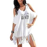 heekpek Vestido de Playa Mujer Blusas Chales Camisolas y Pareos Trajes de baño Sexy Bikini Cover ups Borla Camisola…