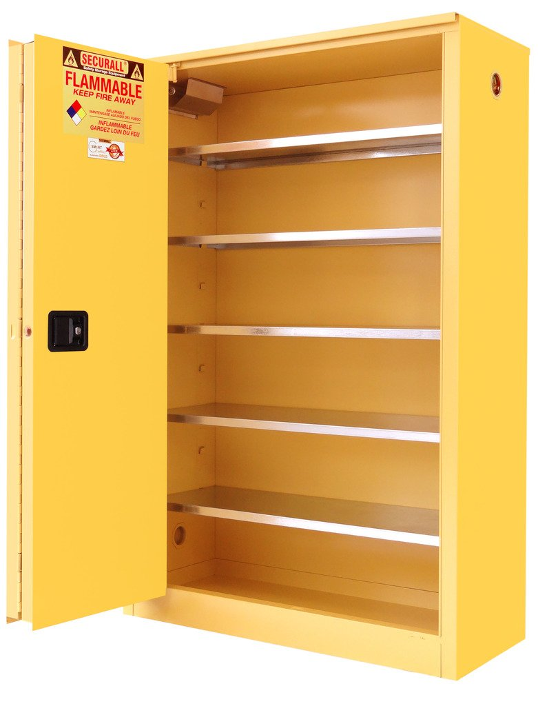 SECURALL P260 Paint/Ink Storage Cabinet, Self-Close Self-Latch, Sliding Doors, 15 YR Warranty, 65 x 43 x 18, 18-Gauge Steel, 60-Gal Cap, 5-Adj Shelves, FM Approved, SMaRT Certified, OSHA Comp - Yellow