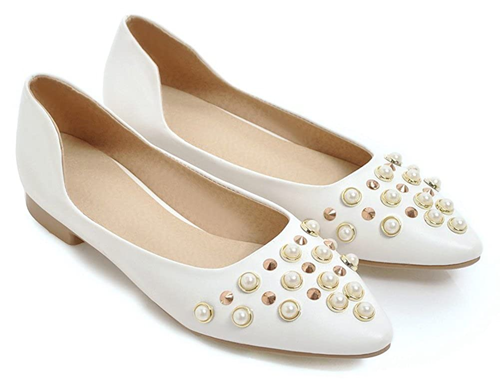 d219096ba Aisun Womens Professional Antiskid Beads Wear to Work Office Low Cut  Pointed Toe Dress Slip On Flats ...