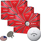 Callaway Golf 2018 Chrome Soft Golf Balls White (3 Dozens) + 1 Custom Ball Marker Clip Set (US Flag)