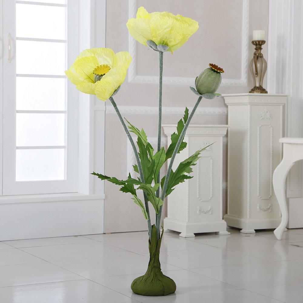 ZF-338 45'' Free Standing Paper Poppies(Yellow, 4pcs) by Flora Bunda