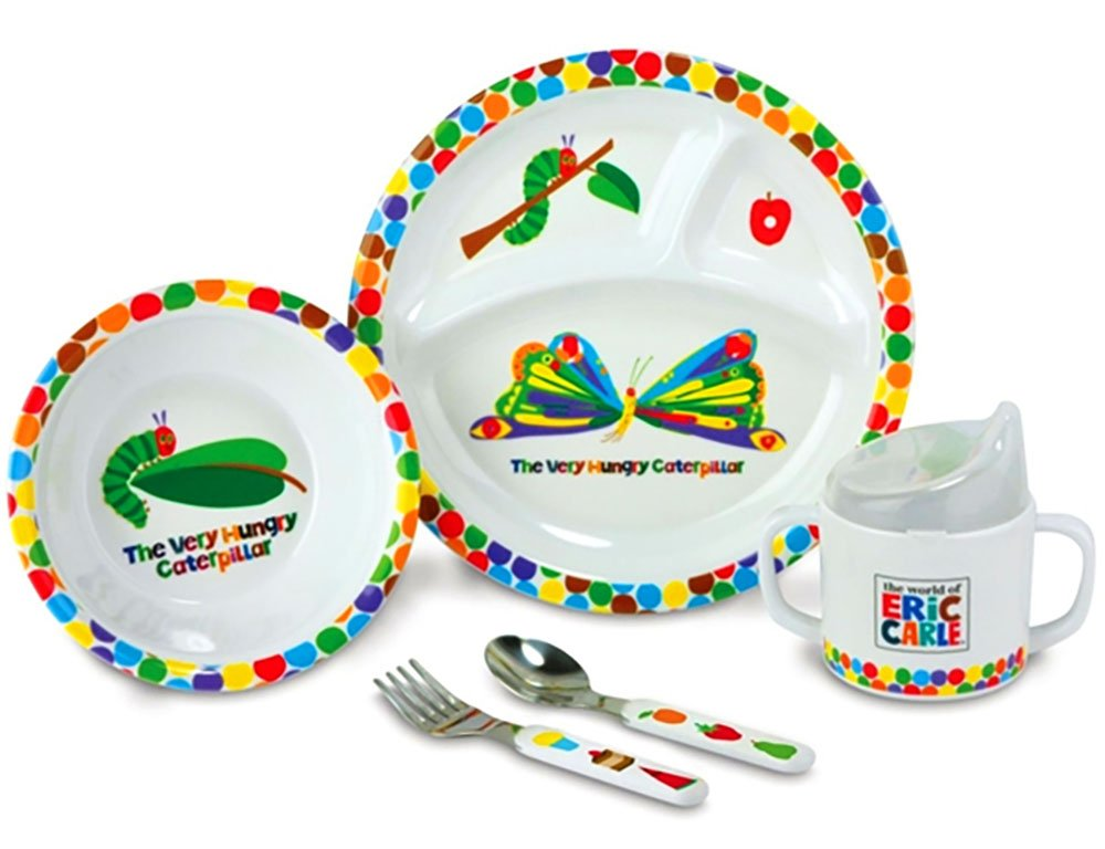 The Very Hungry Caterpillar 5 pieces Dish, Bowl, Cup, Fork & Spoon Gift Set