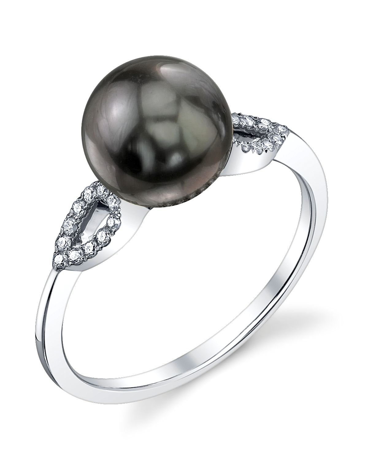 8mm Tahitian South Sea Cultured Pearl & Diamond Callie Ring in 14K Gold