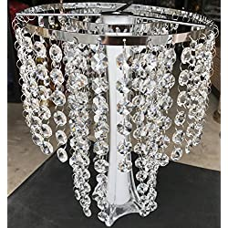 "LA Decor Supply Real Crystal Beaded Chandelier Centerpiece Topper, Vase Topper for Weddings, Parties and Home Decoration[9"" Silver Topper]"