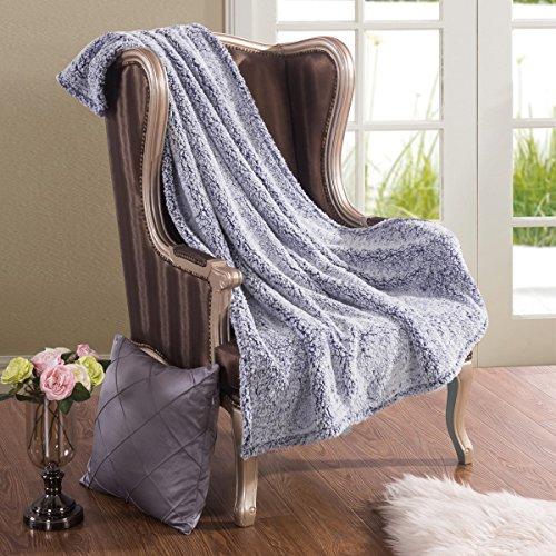 HYSEAS Sherpa Bed Throw, Extra Soft and Fuzzy Plush Brush Fa