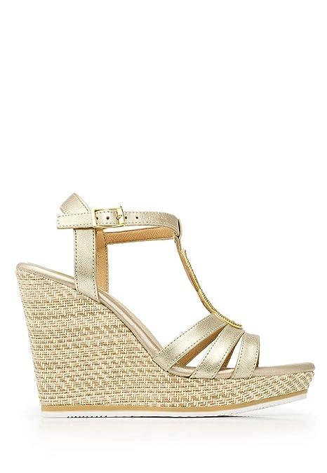 5df5c7c0 Flexi- Sandalia Dorada con Plataforma Sandalia para Mujer Oro Talla 23