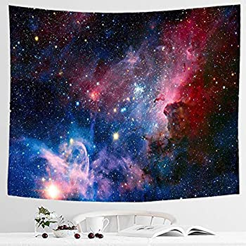 IcosaMro Galaxy Space Tapestry Wall Hanging, Red Stars Night Sky Wall Tapestries [Double-Folded Hems]- Cool Psychedelic Hippie Wall Blanket for Bedroom, Dorm, Door, Room, 51x60