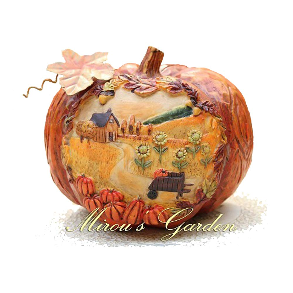Anewgift Pumpkin Garden Statue - Funny Outdoor Sculpture Resin Lawn Ornaments Decor - Best Indoor Outdoor Figurines for Patio Yard and House
