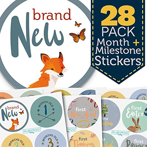 Baby Month & Milestone Stickers - 28 Pack - Baby Boy Onesie Belly Stickers. Includes 12 Monthly, 1st Year milestones & First Holidays. Perfect Baby Shower & Newborn Birthday Gift. -