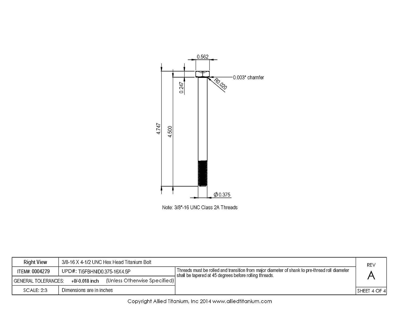 611761001 Grade 5 3//8-16 X 4-1//2 UNC Titanium Hex Head Bolt Inc Allied Titanium 0004279, Ti-6Al-4V Pack of 2