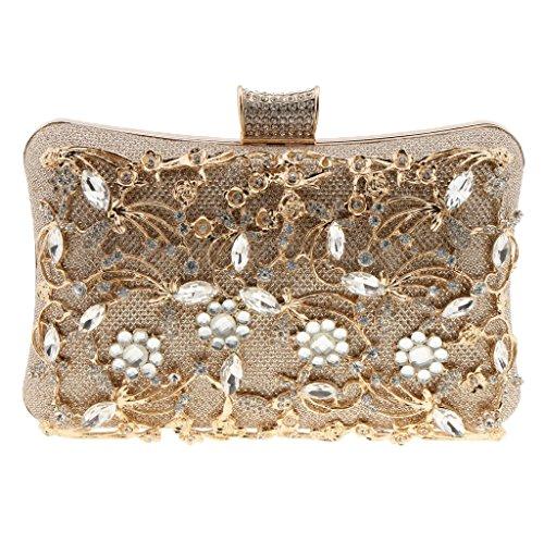 Evening Clutch Rhinestone Bag Homyl Gold Bag Crystal Purse Shoulder Party Womens Ladies taSqEEw