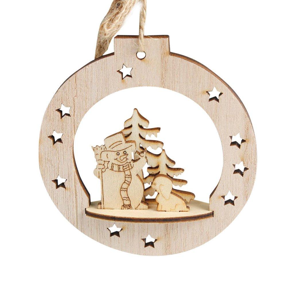 Fabal Christmas Wooden Pendant Snowflake Wood Embellishments Rustic Christmas Tree Hanging Ornament Decor (A)
