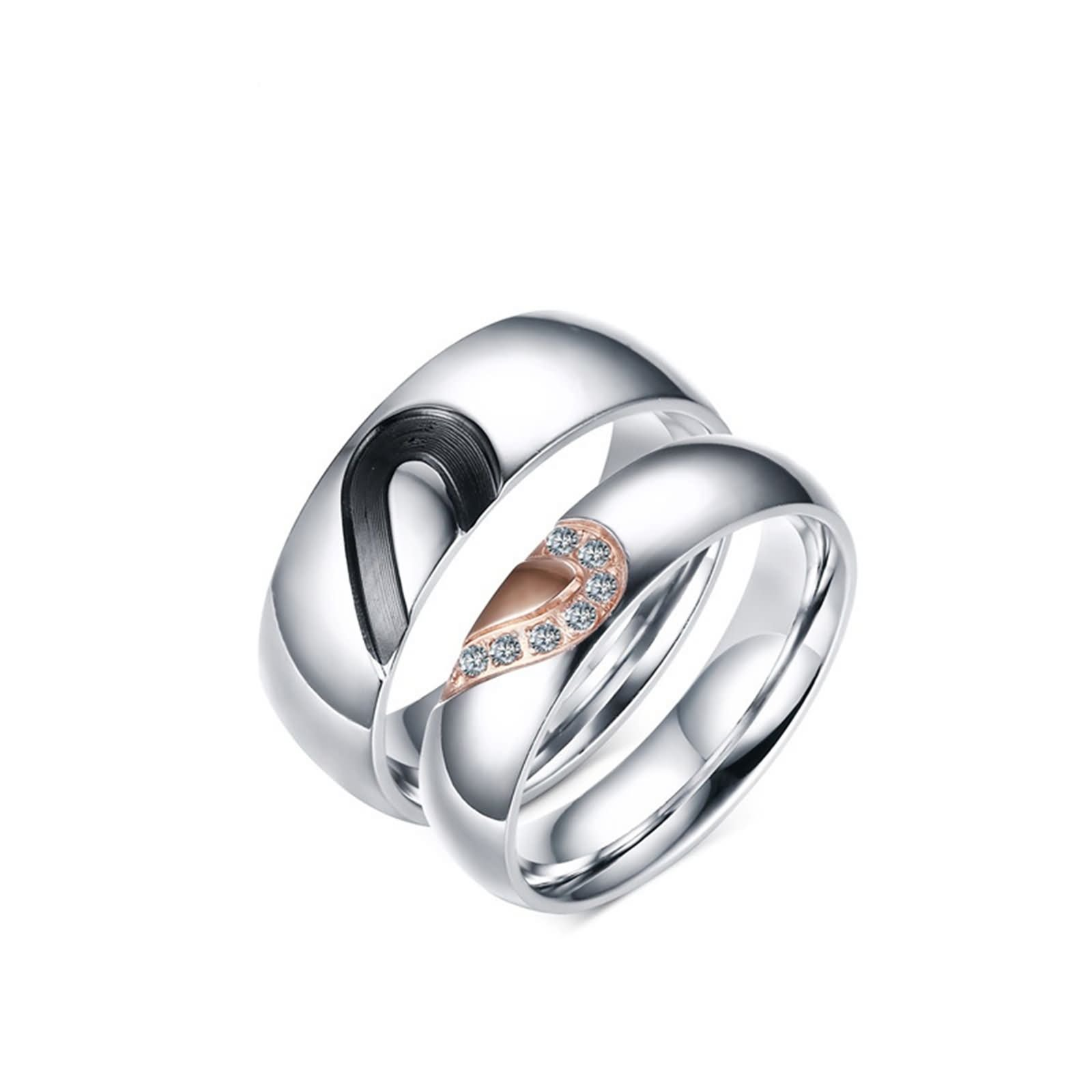 Wedding Rings Set for Him and Her Couple Rings Stainless Steel Puzzle Heart CZ Size 8 & Men Size 11