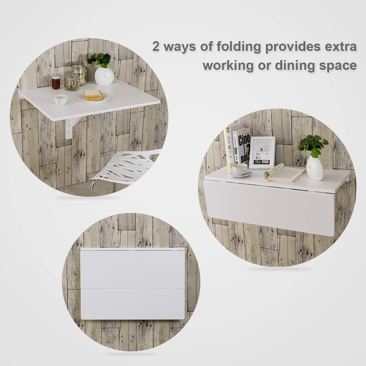 COSTWAY Wall-mounted Drop-leaf Table Space Saving Hanging Table for Study Capacity 20KG 80x60CM Bedroom or Balcony Bathroom Folding Floating Laptop Desk