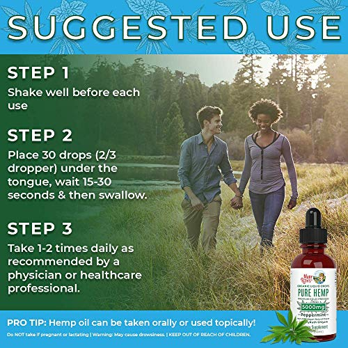 61qK1%2BVsWML - (2 Pack) Organic Pure Hemp Oil Extract 5000mg by MaryRuth's for Pain & Stress Relief - Powerful for Ingestible & Topical Use - Non-GMO - Vegan - Plant Based - Sugar-Free - Peppermint - 1 oz (2 Pack)