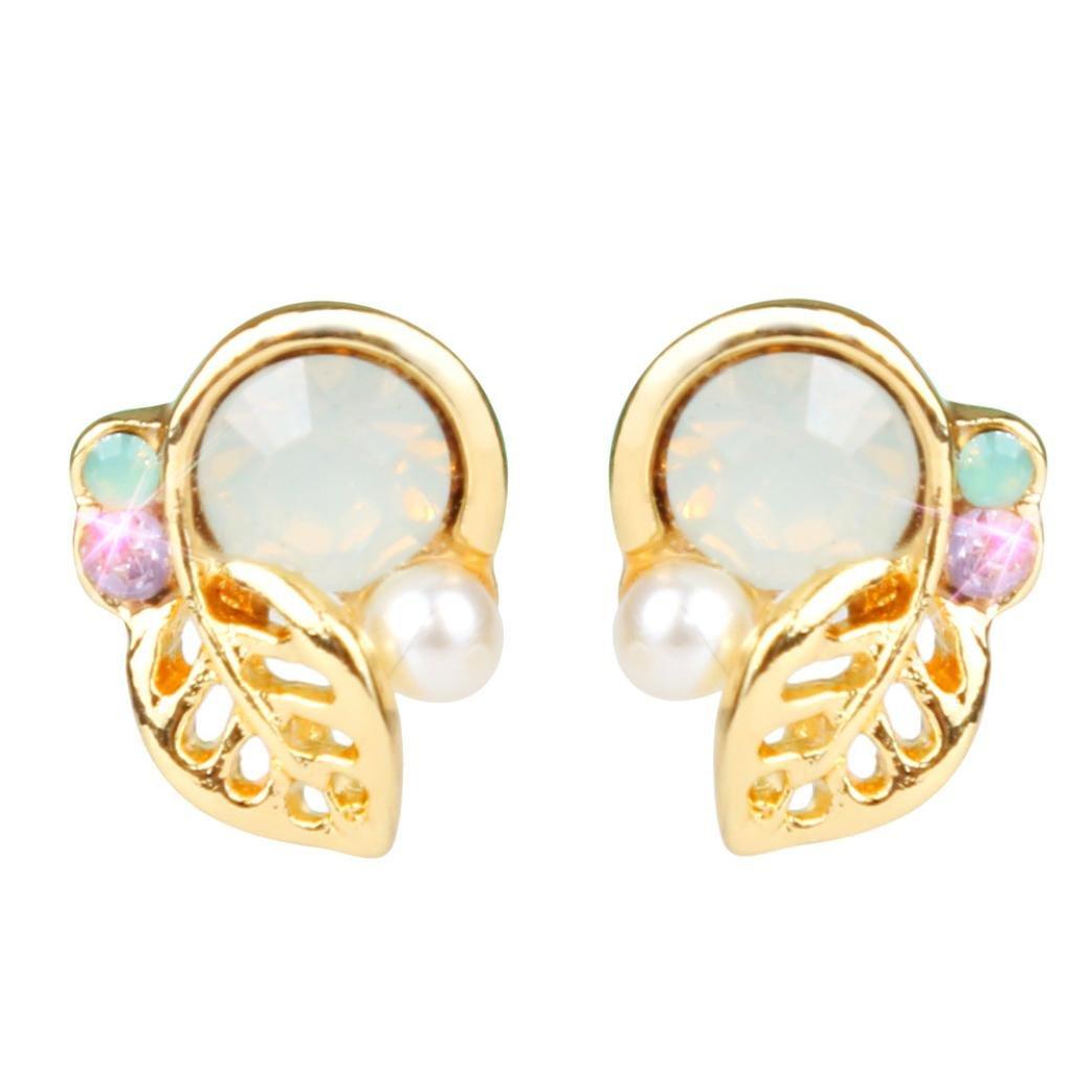 Beuu Simple Leaves Diamond Pearl Earrings New Fashion Crystal Rhinestone Small Lovely Stud Earrings