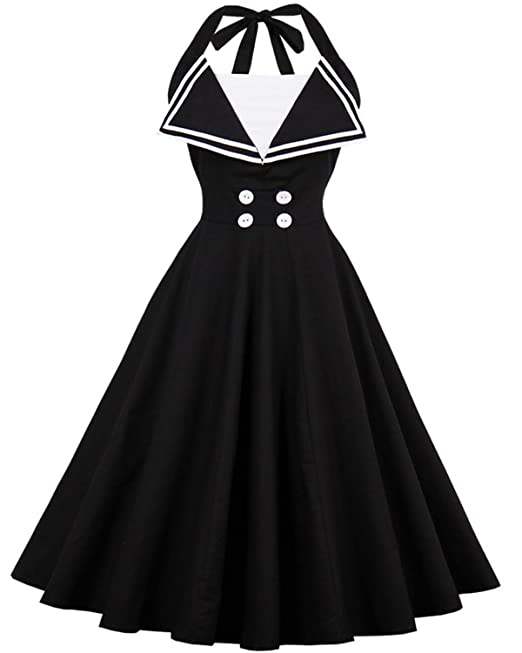 ZAFUL Mujer Vintage Vestido de Coctel Noche sin Mangas Cuello Halter Falda Plisada Tallas Grandes Negro