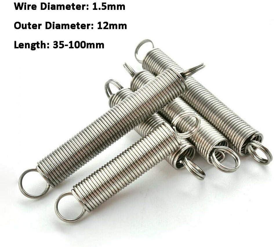 NO LOGO W-NUANJUN-Spring 2ST Drahtdurchmesser 1,5 mm Edelstahl-304 Dual-Haken kleine Expansion Zugfeder Aussendurchmesser 12mm Hardware Zubeh/ör Gr/ö/ße : 1.5 x 12 x 35mm