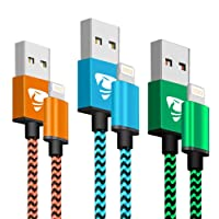 Phone Charger Cable Aione 3Pack 2M Nylon Braided Phone Charger Compatible with iPhone X iPhone 8 8 Plus 7 7 Plus 6s 6s Plus 6 6 Plus iPad iPod-(Blue,Orange,Green)