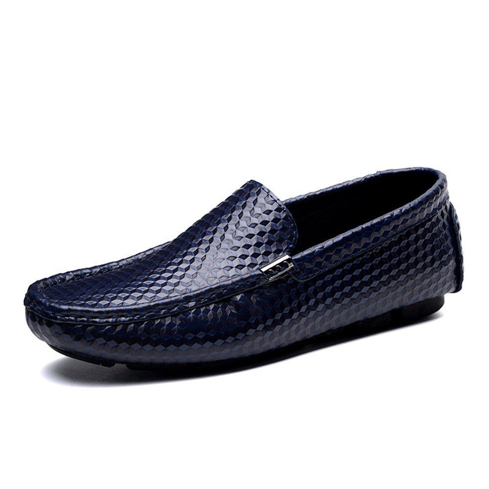 TYAW-Los Hombres de Conducción de Zapatos Zapatos de Cuero de Color Sólido de Cabeza Redonda Boca Superficial 39 EU|Blue Blue