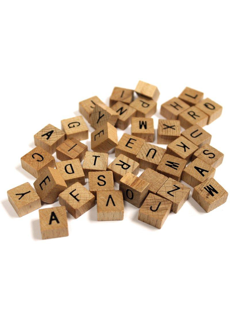 200 Pc MINI Wooden Alphabet Tile Set 1/2 inch (5 bags of 40)