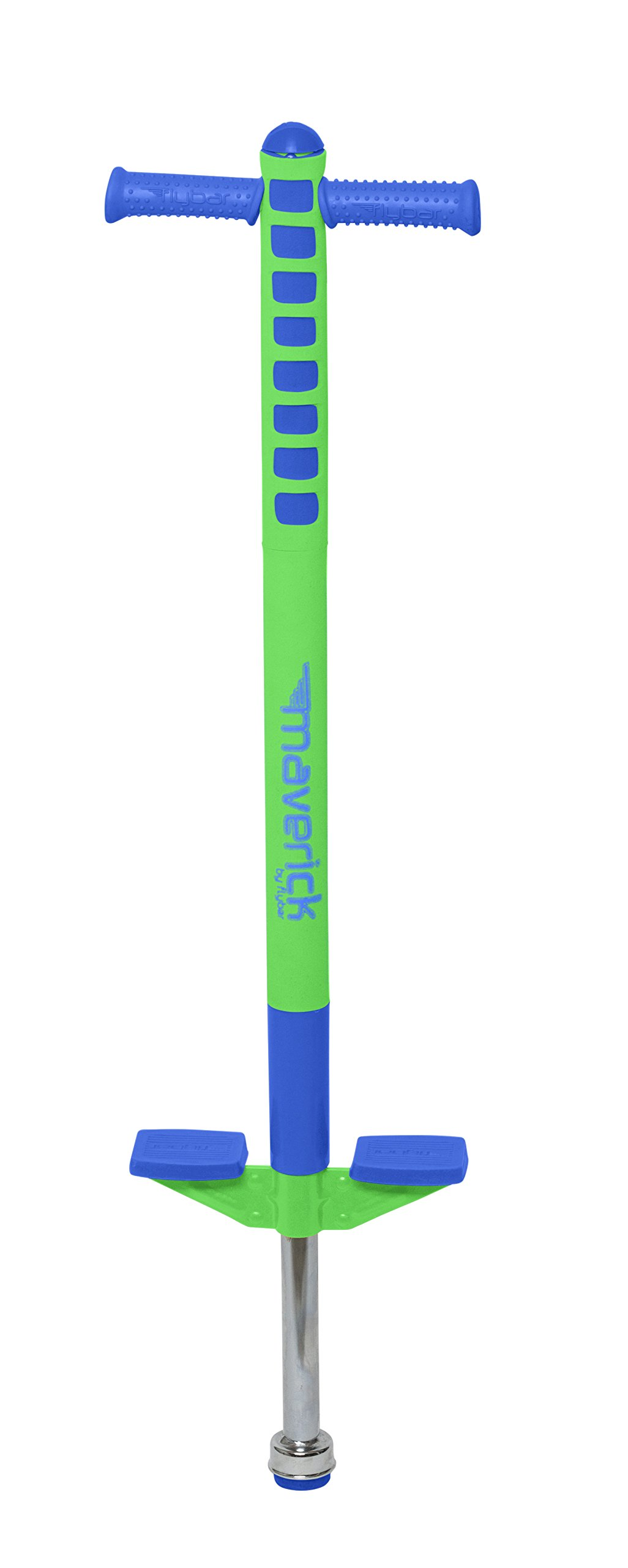 Flybar Limited Edition Foam Maverick Pogo Stick for Boys & Girls | Indoor/Outdoor Toy for Kids Ages 5-9 | Features NEW 'Rubber' Grip Handles | Non-Slip Foot Pegs for Safety - (Blue/Lime, 1 Pack)