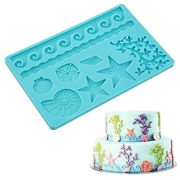 Molde de silicona para fondant con forma de vida marina, molde para tartas, pasta para tartas: Amazon.es: Hogar