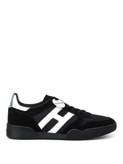Hogan Homme HXM3570AC41JCN7234 Blanc Noir Cuir Baskets  Amazon.fr ... 463d805fd9b1