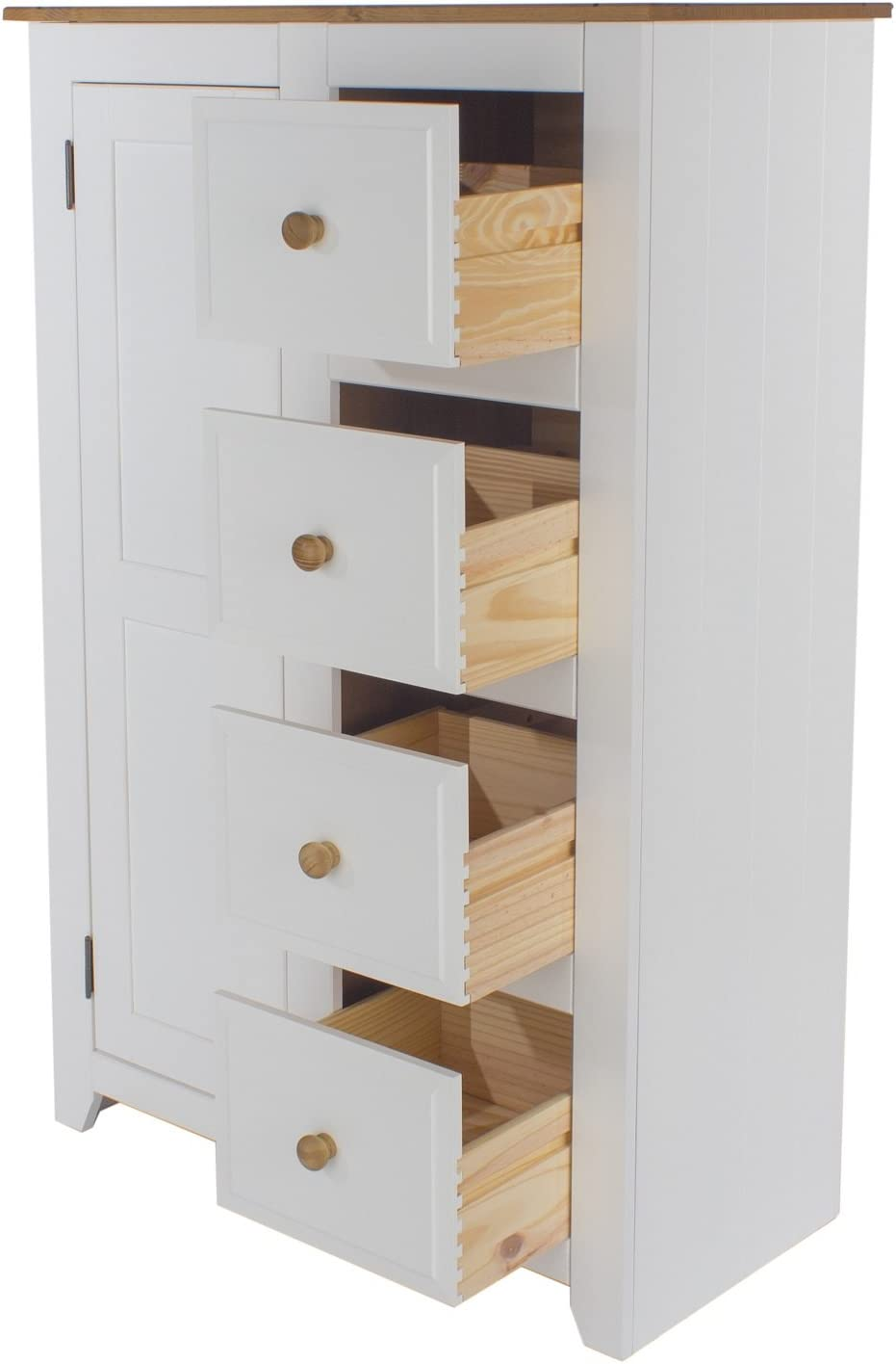 /Cassettiera alta tradizionale bianco artico 1/ante e 3/cassetto e top in pino massiccio, Home Source/
