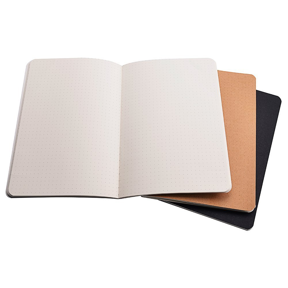 Travel Journal Set A5 Dotted Notebook Dot Grid Paper With 6 Notebook - Black/White/Kraft Brown Cover (A5 - Dot Grid-6pcs)